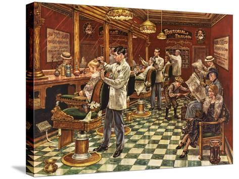 Tonsorial Parlor-Lee Dubin-Stretched Canvas Print