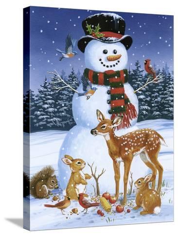 Snowman with Friends-William Vanderdasson-Stretched Canvas Print