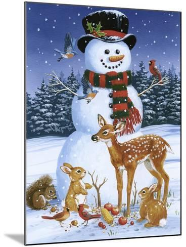 Snowman with Friends-William Vanderdasson-Mounted Giclee Print