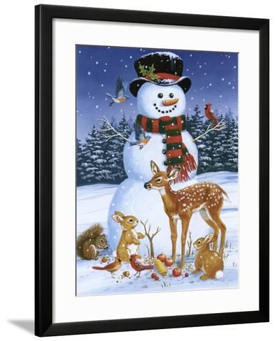 Snowman with Friends-William Vanderdasson-Framed Art Print