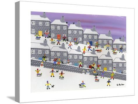 Sledding in the Streets-Gordon Barker-Stretched Canvas Print
