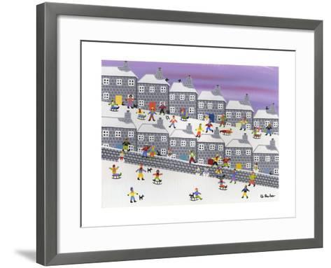 Sledding in the Streets-Gordon Barker-Framed Art Print