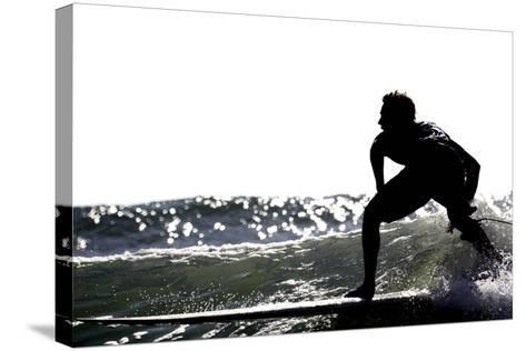 Surfing Silhouette I-Karen Williams-Stretched Canvas Print