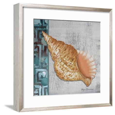 Spotted Conch Seashell - Side Border and Gray Crackle Back-Megan Aroon Duncanson-Framed Art Print