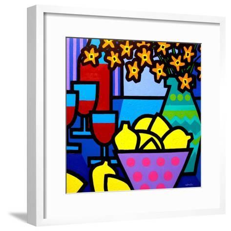 Wine, Lemons and Flowers-John Nolan-Framed Art Print