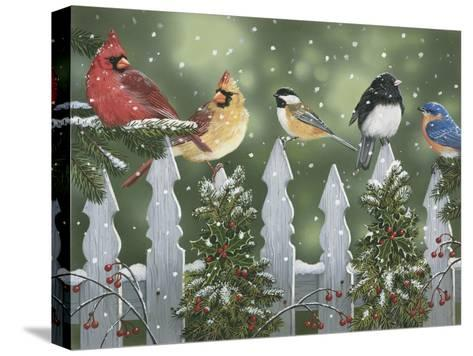 Winter Birds on a Snowy Fence-William Vanderdasson-Stretched Canvas Print