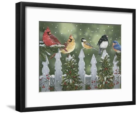 Winter Birds on a Snowy Fence-William Vanderdasson-Framed Art Print
