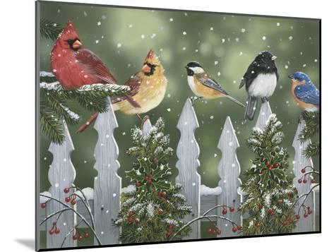 Winter Birds on a Snowy Fence-William Vanderdasson-Mounted Giclee Print