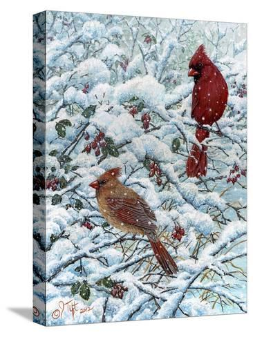 Winter Cardinal Painting-Jeff Tift-Stretched Canvas Print
