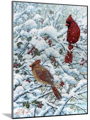 Winter Cardinal Painting-Jeff Tift-Mounted Giclee Print