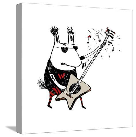 Wild Guitar Wolf-Carla Martell-Stretched Canvas Print