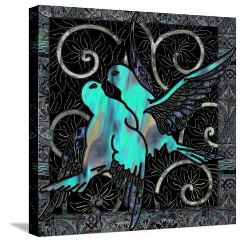 Aqua Lovebirds-Mindy Sommers-Stretched Canvas Print