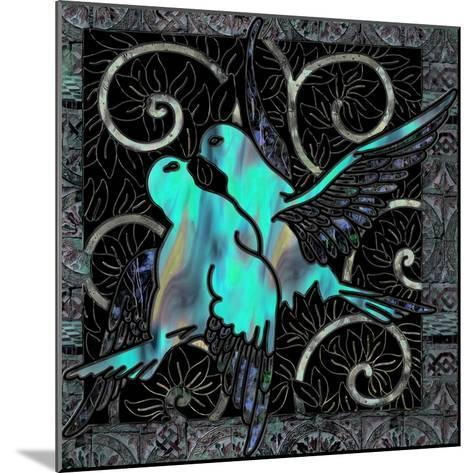 Aqua Lovebirds-Mindy Sommers-Mounted Giclee Print