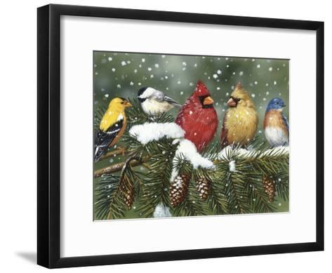 Backyard Birds on Snowy Branch-William Vanderdasson-Framed Art Print