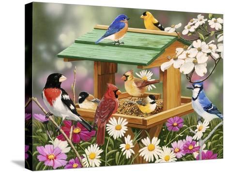 Backyard Birds Spring Feast-William Vanderdasson-Stretched Canvas Print