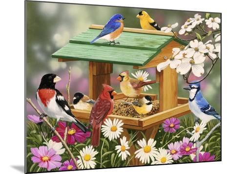 Backyard Birds Spring Feast-William Vanderdasson-Mounted Giclee Print
