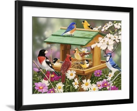 Backyard Birds Spring Feast-William Vanderdasson-Framed Art Print