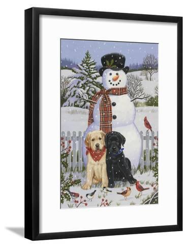 Backyard Snowman with Friends-William Vanderdasson-Framed Art Print
