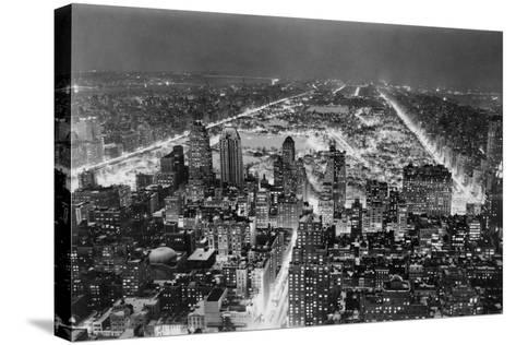 Aerial View of New York City, at Night--Stretched Canvas Print