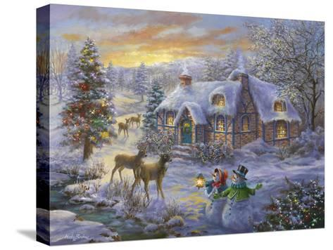 Christmas Cottage-Nicky Boehme-Stretched Canvas Print