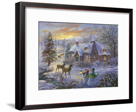 Christmas Cottage-Nicky Boehme-Framed Art Print