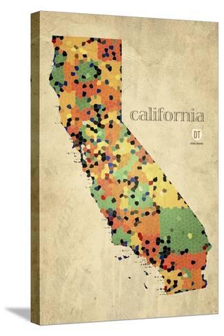California County Map-David Bowman-Stretched Canvas Print