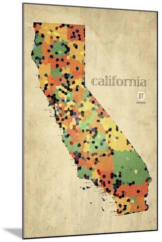 California County Map-David Bowman-Mounted Giclee Print