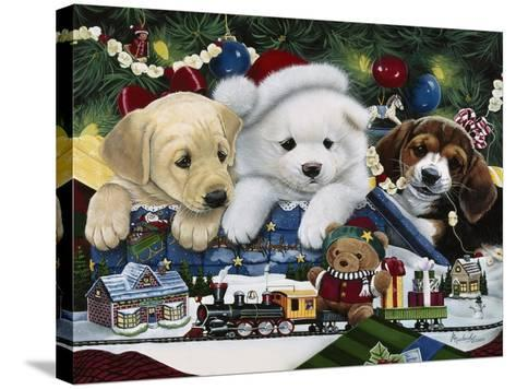 Curious Christmas Pups-Jenny Newland-Stretched Canvas Print