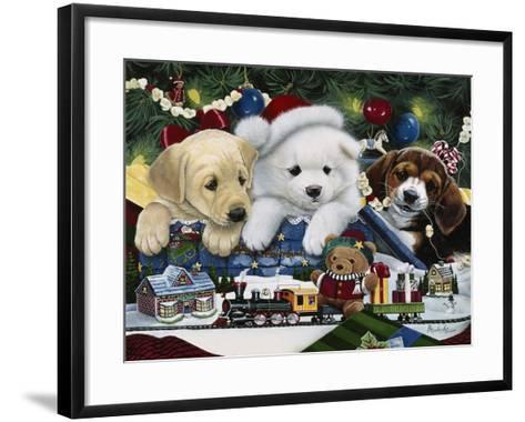 Curious Christmas Pups-Jenny Newland-Framed Art Print
