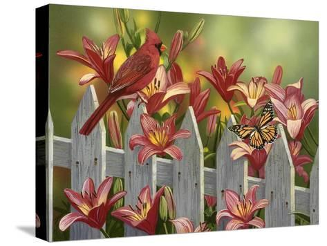 Cardinal and Lilies-William Vanderdasson-Stretched Canvas Print