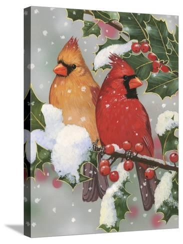 Cardinal Couple with Holly-William Vanderdasson-Stretched Canvas Print
