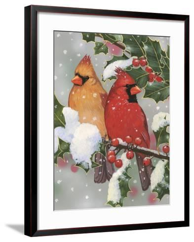 Cardinal Couple with Holly-William Vanderdasson-Framed Art Print