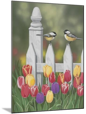 Chickadees and Tulips-William Vanderdasson-Mounted Giclee Print