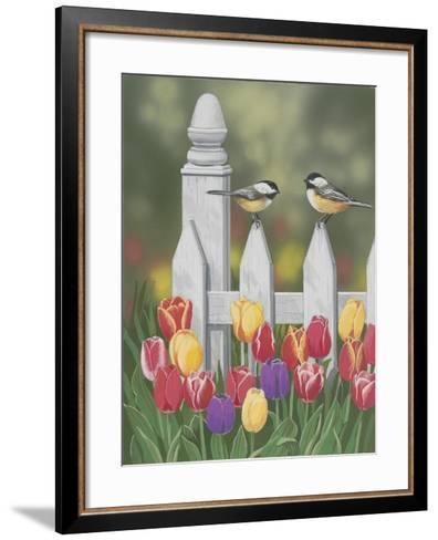 Chickadees and Tulips-William Vanderdasson-Framed Art Print