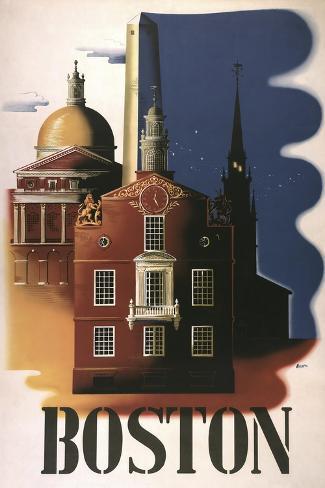 Boston Architecture--Stretched Canvas Print