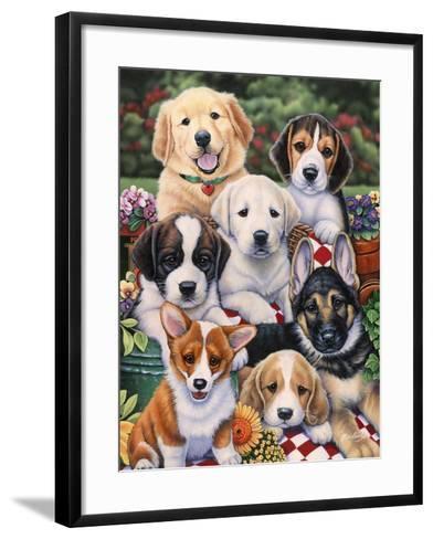 Garden Puppies-Jenny Newland-Framed Art Print