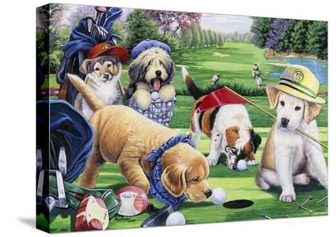 Golfing Puppies-Jenny Newland-Stretched Canvas Print