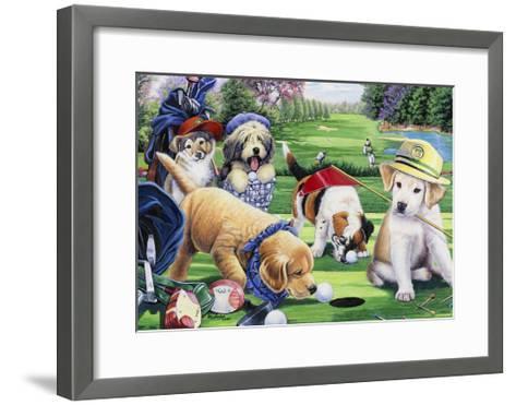 Golfing Puppies-Jenny Newland-Framed Art Print