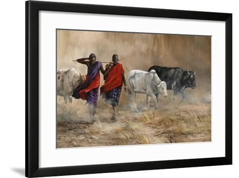 Dusty Cattle Drive-Trevor V. Swanson-Framed Art Print