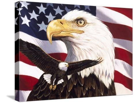 Eagle and Flag-William Vanderdasson-Stretched Canvas Print