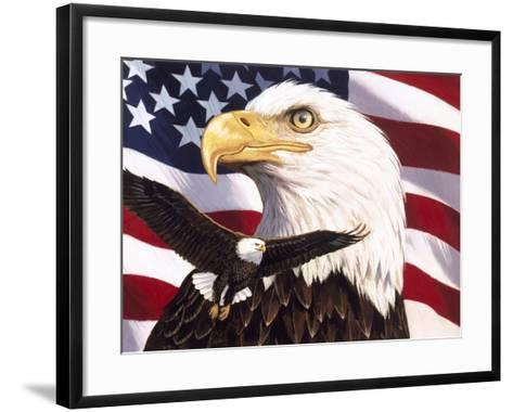 Eagle and Flag-William Vanderdasson-Framed Art Print