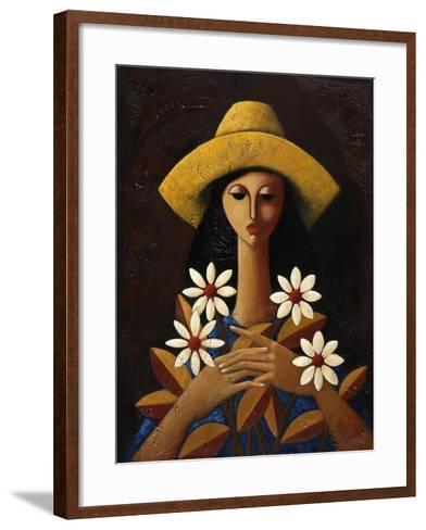 Five Daisies-Oscar Ortiz-Framed Art Print