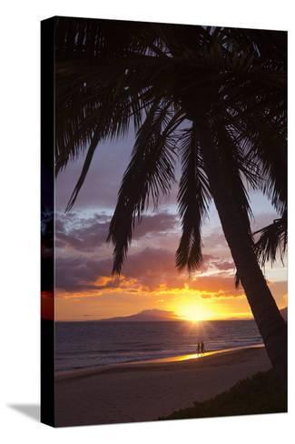 Couple Walking at Sunset at Keawekapu Beach, Wailea, Maui, Hawaii MNR-Ron Dahlquist-Stretched Canvas Print