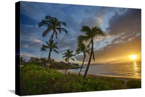 Sunset on Southern Maui Beach with Palm Trees-Terry Eggers-Stretched Canvas Print