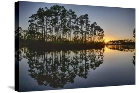 Sunset in Long Pine Area of Everglades NP-Terry Eggers-Stretched Canvas Print