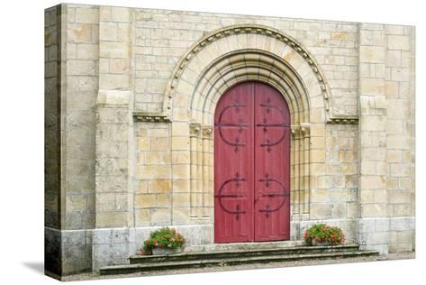 Red Church Door France-Jason Langley-Stretched Canvas Print