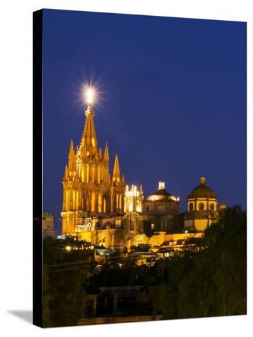 Evening Lights Parroquia Archangel Church San Miguel De Allende, Mexico-Terry Eggers-Stretched Canvas Print