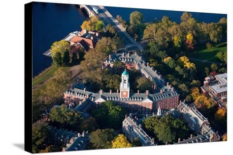Sunrise Aerials of Eliot House Clock Tower, Harvard, New England-Joseph Sohm-Stretched Canvas Print