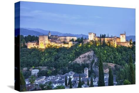 Evening Lights from the Alhambra Palace-Terry Eggers-Stretched Canvas Print