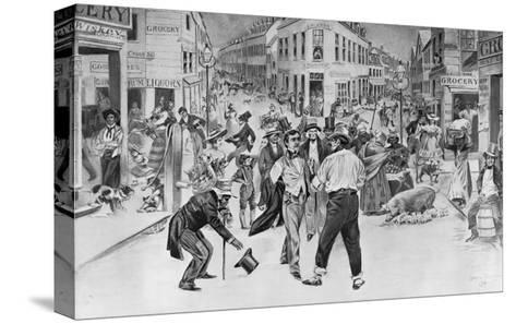 Print of an Encounter between a Swell and a Bowery Boy in the Five Points Neighborhood--Stretched Canvas Print